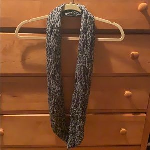 Black and Gray Cheeta Print Infinity Scarf
